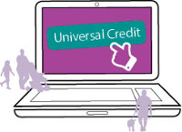 Image of a laptop promoting universal credit